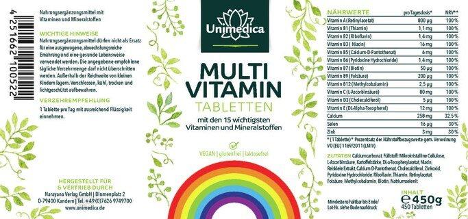 Multivitamin - 450 Tabletten - von Unimedica