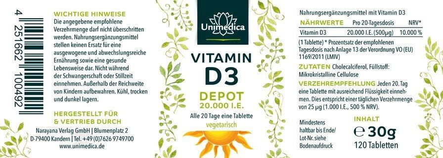 Vitamin D3 Depot 20.000 I.E. - 120 Tabletten - von Unimedica