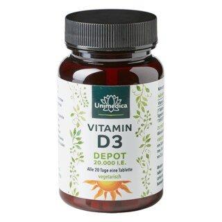 Vitamin D3 Depot 20.000 I.E. - 120 Tabletten - von Unimedica/