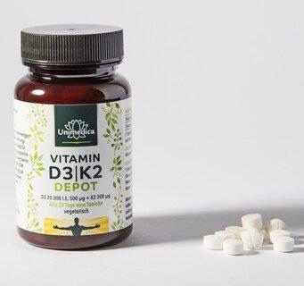 Vitamin D3 / K2 MK7 All-trans Depot - D3 20.000 I.E. 500µg / K2 200 µg - 180 Tabletten - von Unimedica