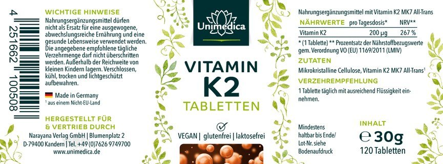 Vitamin K2 tablets - 120 tablets - from Unimedica