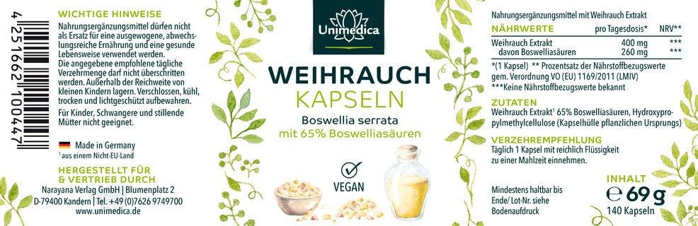 Weihrauch - 1600 mg pro Tagesdosis - hochdosiert - 140 Kapseln - von Unimedica