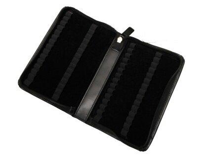 60er Taschenapotheke mit leeren braunen 1,5 g Gläschen - Leder - schwarz/