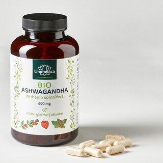 Bio Ashwagandha 180 Kapseln 600 mg hochdosiert - von Unimedica