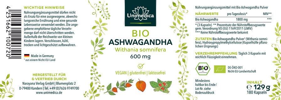 Ashwagandha BIO 180 gélules 600 mg hautement dosé - par Unimedica