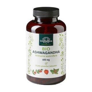 Bio Ashwagandha 180 Kapseln 600 mg hochdosiert - von Unimedica/