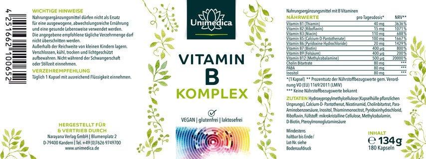 Complexe de vitamines B  hautement dosé - 180 gélules - par Unimedica