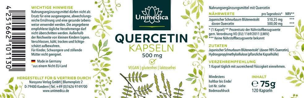 Quercetin - 500 mg - 120 Kapseln - von Unimedica