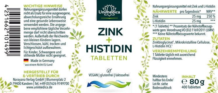 Zink+Histidin - 400 Tabletten - von Unimedica