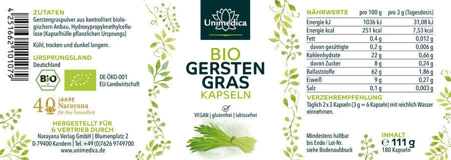 Bio Gerstengras - 500 mg - 180 Kapseln - von Unimedica