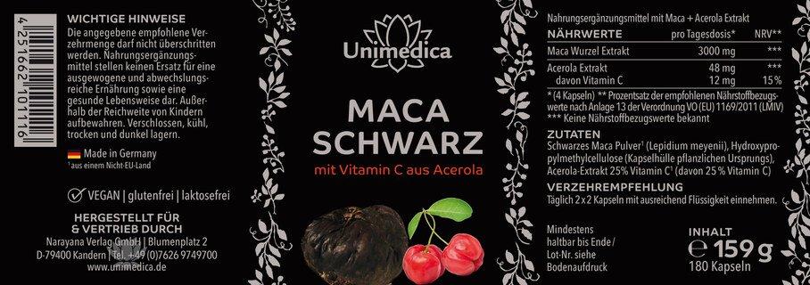 Schwarzes Maca mit Vitamin C aus Acerola - 3.000 mg pro Tagesdosis - 180 Kapseln - von Unimedica