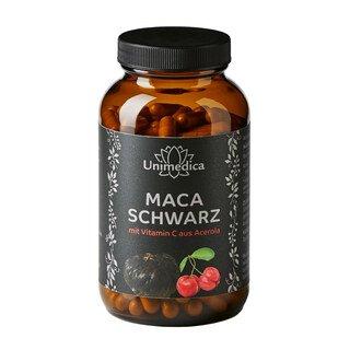 Schwarzes Maca mit Vitamin C aus Acerola - 3.000 mg pro Tagesdosis - 180 Kapseln - von Unimedica/