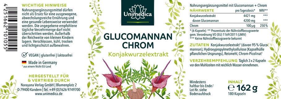 Abnehmkapseln mit 4000mg Glucomannan aus der Konjakwurzel + Chrom - 180 Kapseln - von Unimedica