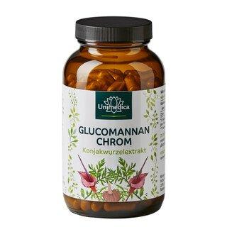 Abnehmkapseln mit 4000mg Glucomannan aus der Konjakwurzel + Chrom - 180 Kapseln - von Unimedica/