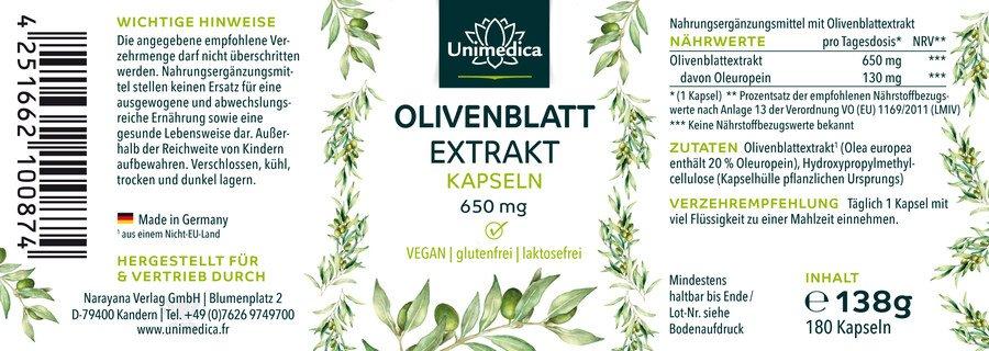 Olivenblatt Extrakt - 650 mg - 180 Kapseln - von Unimedica