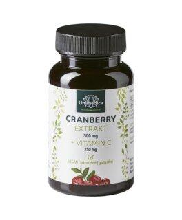 Cranberry Extrakt 500 mg + Vitamin C 250 mg - 60 Kapseln - von Unimedica/