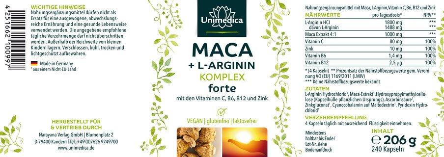 Maca+L-Arginin Komplex forte mit den Vitaminen C, B6, B12 und Zink - hochdosiert - 240 Kapseln - von Unimedica