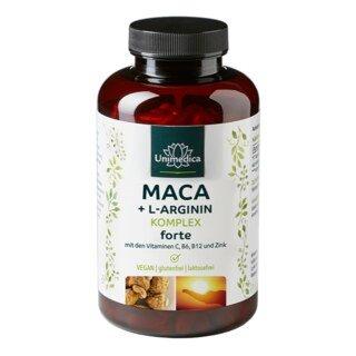 Complexe  Maca + L-arginine forte avec vitamines C, B6, B12 et zinc - dosage élevé - 240 gélules - Unimedica/