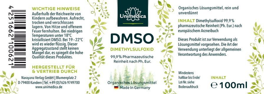DMSO 99,99% de pureté pharmaceutique 100 ml d'UNIMEDICA