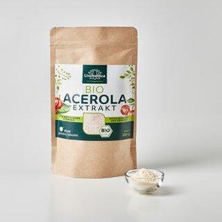 Acerola Pulver Bio -17 % natürliches Vitamin C aus der Acerola-Kirsche -  200 g - von Unimedica