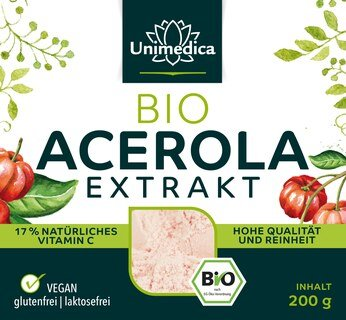Poudre d'acérola bio -17% de vitamine C naturelle issue de la cerise acérola - 200 g - Unimedica