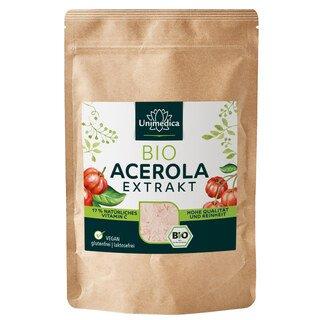 Acerola Pulver Bio -17 % natürliches Vitamin C aus der Acerola-Kirsche -  200 g - von Unimedica/