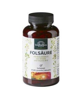 Acide folique avec Extrafolate-S de Gnosis et vitamine B12 - 800 µg d'acide folique et 25 µg de vitamine B12  - 180 gélules - par Unimedica/