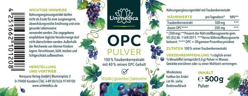 OPC Pulver - 40 % OPC Gehalt  - 500 g -  von Unimedica
