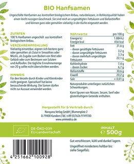 Bio Hanfsamen - ungeschält - naturbelassen -  500 g - von Unimedica