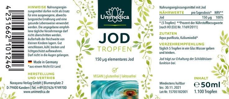Jod Tropfen - 150 µg hochdosiert - 50 ml -  von Unimedica