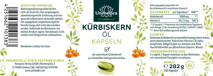 Huile de graines de courge à l'huile de graines de courge biologique de Styrie - 3 000 mg - 200 gélules molles - par Unimedica