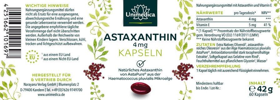Astaxanthine - AstaPure - 12 mg - 60 capsules molles - Unimedica