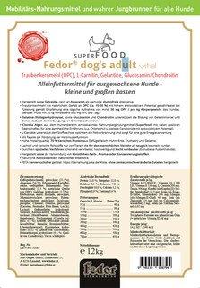 Fedor® dog's Adult vital - 12 kg - Hundefutter mit Traubenkernmehl (OPC), L-Carnitin, Gelatine, Glucosamin/Chondroitin/