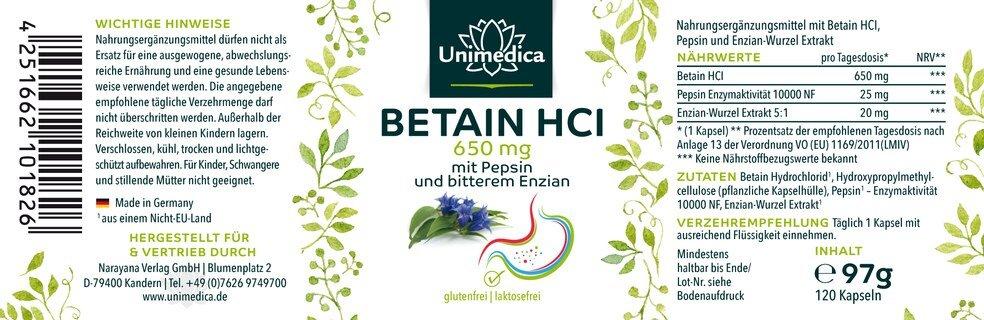 Betain HCl - 650 mg - mit Pepsin und bitterem Enzian - 120 Kapseln - von Unimedica
