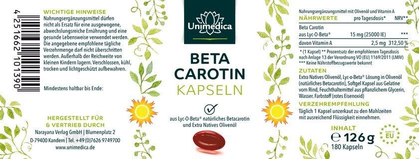 Beta Carotin - aus Lyc-O-Beta® - 25.000 IE - 180 Softgelkapseln - von Unimedica
