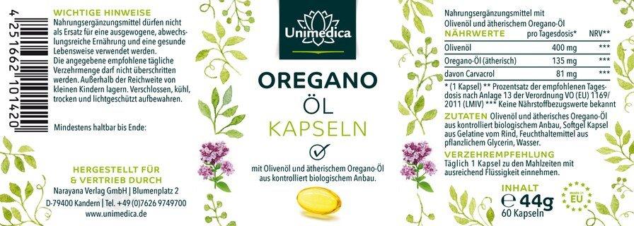 Huile d'origan à l'huile d'origan bio - 135 mg - 60 gélules molles - par Unimedica