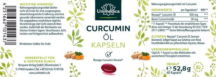 Curcumin Öl - 500 mg - 60 Softgelkapseln - von Unimedica