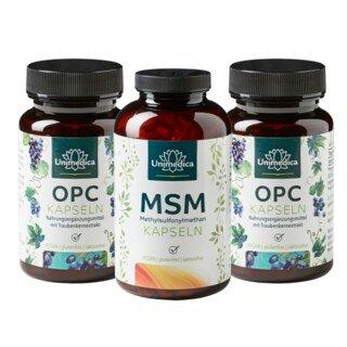 OPC (2 x 60 gélules) et MSM en gélules (1x 365 gélules) - en coffret par Unimedica/