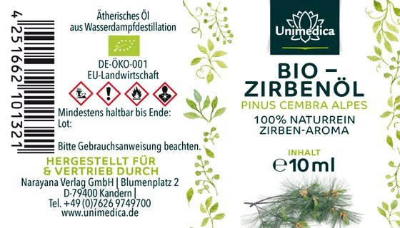 Bio Zirbenöl - 100% naturreines Arvenöl - Zirben-Aroma - ätherisches Öl - 10 ml - von Unimedica