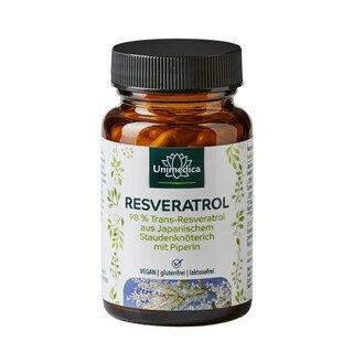 Resveratrol + Piperin - 500 mg - mit 98% Trans-Resveratrol, Japanischem Staudenknöterich - 60 Kapseln - von Unimedica/
