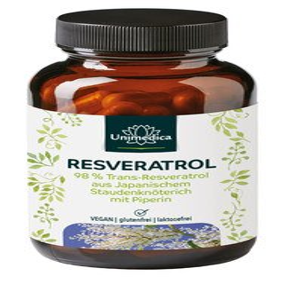 Resvératrol + Pipérine - 500 mg - avec 98 % de trans-resvératrol, renouée du Japon - gélules - par Unimedica/