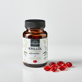 Krillöl SUPERBA 2TM - reich an Omega-3-Fettsäuren EPA + DHA - 120 Softgelkapseln - von Unimedica - Topangebot