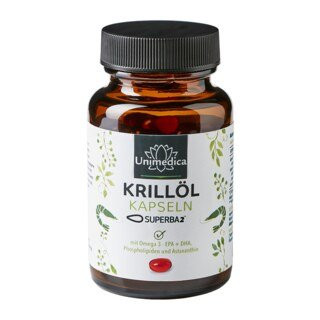 Krillöl SUPERBA 2TM - reich an Omega-3-Fettsäuren EPA + DHA - 120 Softgelkapseln - von Unimedica/
