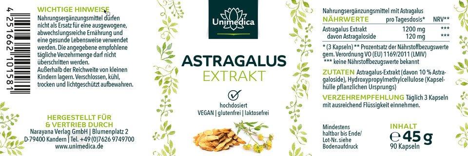 Astragalus Extrakt - 1.200 mg - 10% Astragaloside - 90 Kapseln - von Unimedica