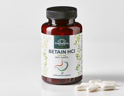 Bétaïne HCl avec L-leucine - 650 mg - 120 gélules - Unimedica