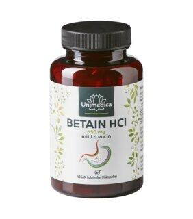 Betain HCl mit L-Leucin - 650 mg - 120 Kapseln - von Unimedica