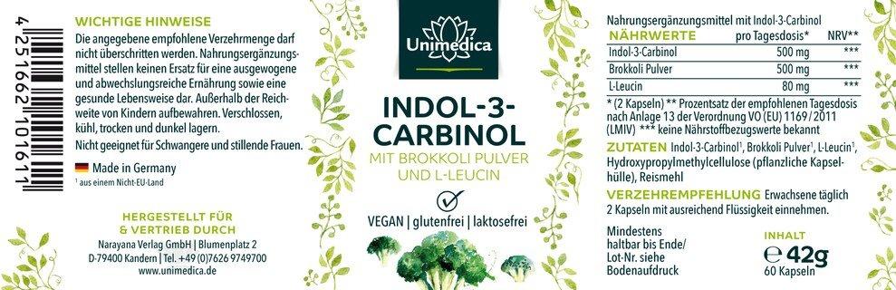 Indol-3-Carbinol mit Brokkoli Pulver und L-Leucin - 500 mg - 60 Kapseln - von Unimedica