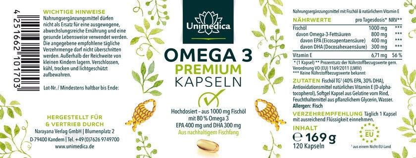 Omega 3 - Premium avec 80 % d'acides gras (EPA + DHA) - 1 000 mg - 120 capsules molles - par Unimedica