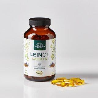 Leinöl mit pflanzlichen Omega Fettsäuren 3-6-9 - 1.000 mg - 120 Softgelkapseln - von Unimedica