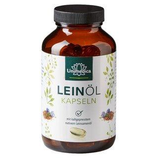 Leinöl mit pflanzlichen Omega Fettsäuren 3-6-9 - 1.000 mg - 120 Softgelkapseln - von Unimedica/